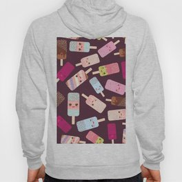 summer ice cream, ice lolly  Kawaii with pink cheeks and winking eyes Hoody