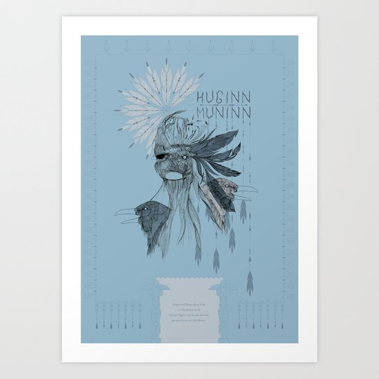 Huginn and Muninn Art Print