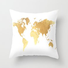 Textured Gold Map Throw Pillow