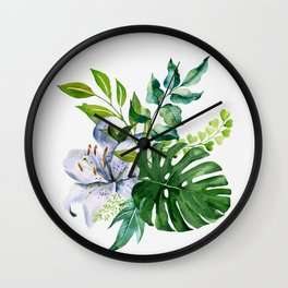 Flower and Leaves Wall Clock