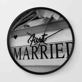 Just Married sign Wall Clock