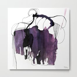 Waterink Purple Metal Print