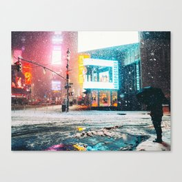 New York City Snow in Times Square Canvas Print