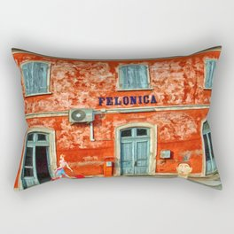 Felonica Train Station – Italy – Painting by Liane Wright Rectangular Pillow