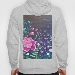 Moonlight Sonata, Bright flowers on Black, Night flowers, Bright floral on dark background Hoody