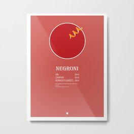 Negroni Cocktail Recipe Poster (Metric) Metal Print