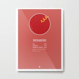 Negroni Cocktail Recipe Poster (Metric) Metal Print