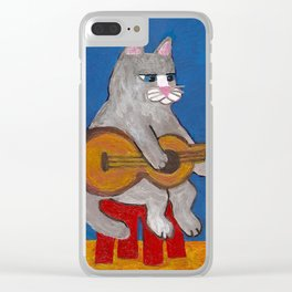 Cat Playing Guitar Clear iPhone Case