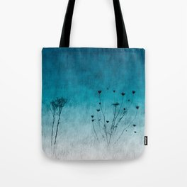 Blue Floral ~ silhouettes Tote Bag