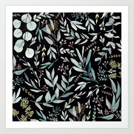 Black Eucalyptus Pattern Art Print