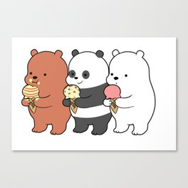 Baby Bears Eating Some Ice Cream Canvas Print