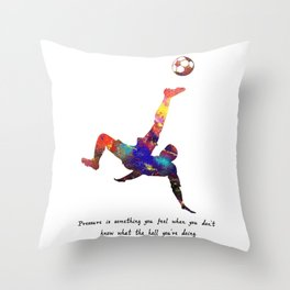 Man Doing Tricks With Footbal Pressure Is Somethin Throw Pillow