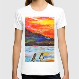 Beautiful Penguins With Sea Lion By The Blue Ocean Painting T-shirt