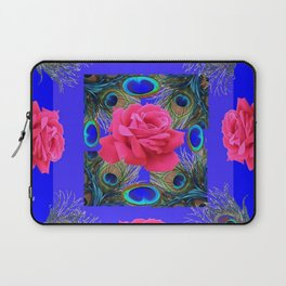 CONTEMPORARY PINK ROSES & PEACOCK FEATHERS BLUE ART Laptop Sleeve
