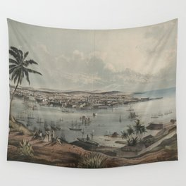 Vintage Pictorial Map of Havana Cuba (1851) Wall Tapestry