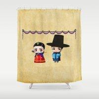 korean Shower Curtains featuring Korean Chibis by artwaste