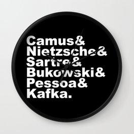 Camus& Nietzsche& Sartre& Bukowski& Pessoa& Kafka. White on Black Wall Clock