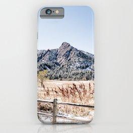 Flatirons Boulder // Colorado Scenery Mountain Landscape Snowfall Fence Line iPhone Case