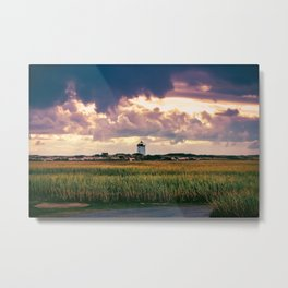 Gathering Storm at Sunset, Cape Cod Lighthouse Metal Print