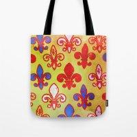 fleur de lis Tote Bags featuring Fleur de lis #4 by Camille