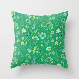 Verdant Flowers on Emerald Background Throw Pillow