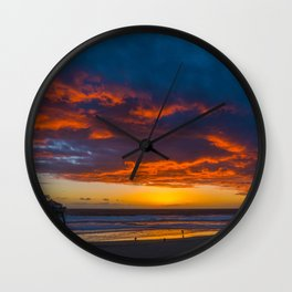 Red Clouds Over the Pier 2 Wall Clock