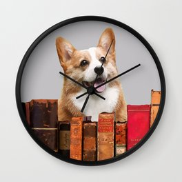 Little Dog behind books - Writer & Journalist Wall Clock
