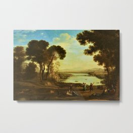 Landscape with Two Figures Dancing with Tambourines by Jakob Philipp Hackert Metal Print