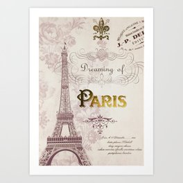 Paris Eiffel Tower French Script Blush Pink Montage Art Print