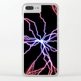 Electrical Lightning Discharge Blue to Red Clear iPhone Case
