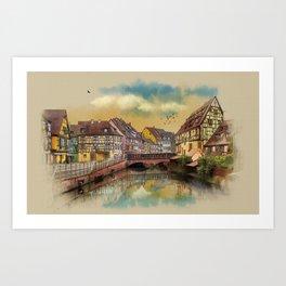 panorama city of Colmar France Art Print