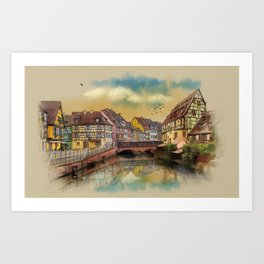panorama city of Colmar France Art Print