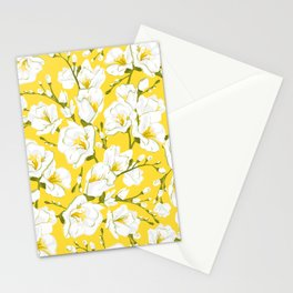 White freesia on a yellow background Stationery Cards