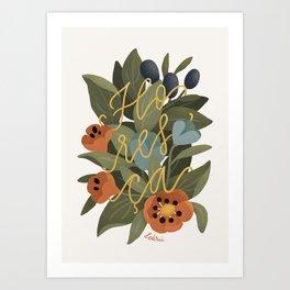 Bloom - Flowers & Lettering Art Print Art Print