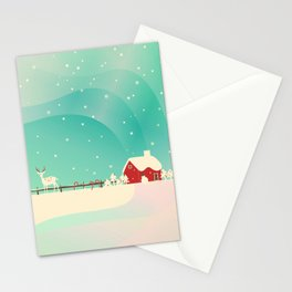 Peaceful Snowy Christmas (Teal) Stationery Cards