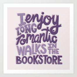 Book Nerd - Romantic Bookstore Purple Art Print