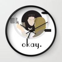 okay Wall Clocks featuring Okay. by Zharaoh