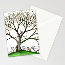 Bull Terriers Whimsical Dogs in Tree Stationery Cards