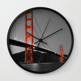 Golden Gate Bridge in Selective Black and White Wall Clock