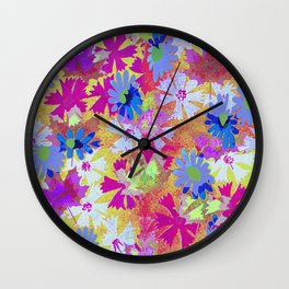VIBRANT PSYCHEDELIC COLORS MEADOW PATTERN  Wall Clock