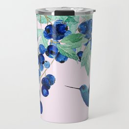 blueberry and humming bird Travel Mug