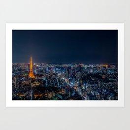 Tokyo, Japan - Night Art Print