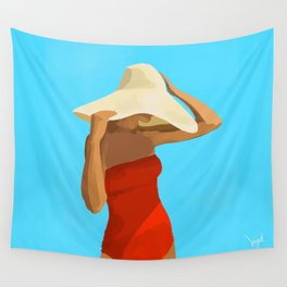 At The Beach: Red Suit Wall Tapestry