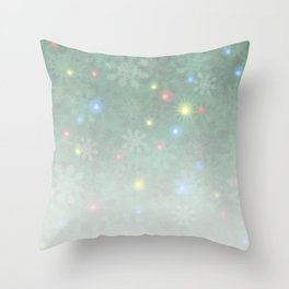 Christmas Snow Lights Pale Throw Pillow