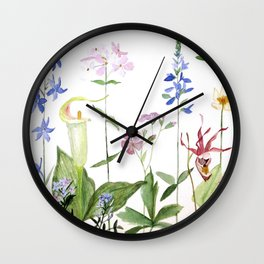 Botanical Garden Flower Wildflower Watercolor Art Wall Clock