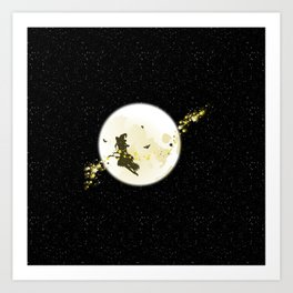 Flying Witch over Full Moon Art Print