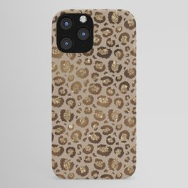 Brown Glitter Leopard Print Pattern iPhone Case