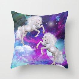space unicorns v Throw Pillow