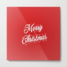 Merry Christmas with Snow Flakes on Red Background Metal Print