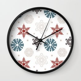 Red White & Blue Snowflakes Wall Clock